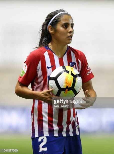Kenti Robles of Atletico Madrid Women takes a throw in during the UEFA Women's Champions League Round of 32 2nd Leg match between Manchester City...