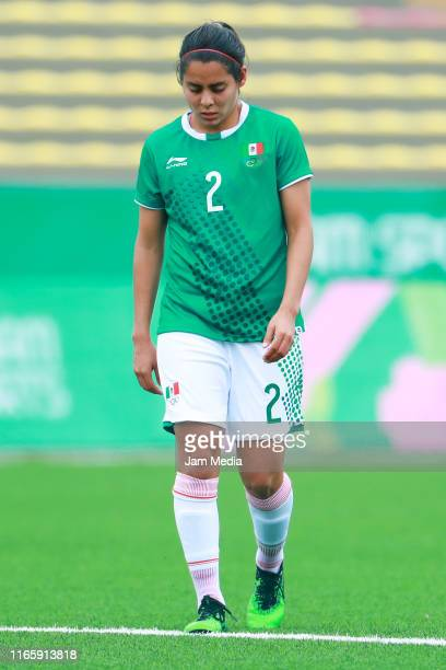 Kenti Robles of Mexico reacts during Women's First Round Group A match between Mexico and Colombia at San Marcos Stadium on Day 8 of Lima 2019 Pan...