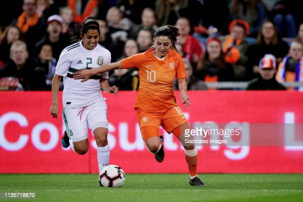 Kenti Robles of Mexico Women Danielle van de Donk of Holland Women during the International Friendly Women match between Holland v Mexico at the...
