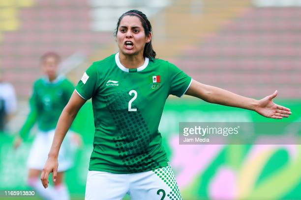 Kenti Robles reacts during the Women's First Round Group A match between Mexico and Colombia at San Marcos Stadium on Day 8 of Lima 2019 Pan American...