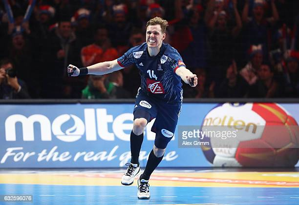 Kentin Mahe of France celebrates scoring a goal during the 25th IHF Men's World Championship 2017 Quarter Final match between France and Sweden at...