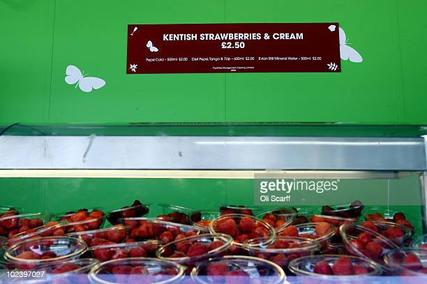 Kentish strawberries are seen for sale on Day Five of the Wimbledon Lawn Tennis Championships at the All England Lawn Tennis and Croquet Club on June...