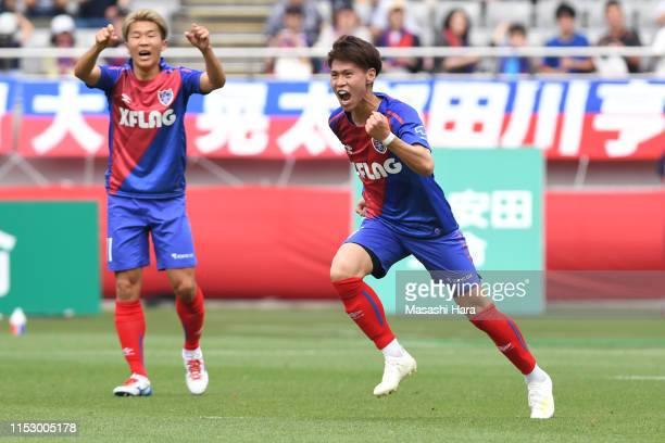 Kento Hashimoto of FC Tokyo celebrates the first goal during the J.League J1 match between FC Tokyo and Oita Trinita at Ajinomoto Stadium on June 01,...
