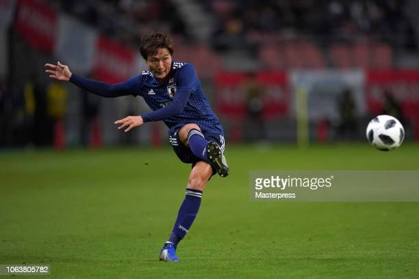 Kento Misao of Japan in action during the international friendly match between Japan and Kyrgyz at Toyota Stadium on November 20, 2018 in Toyota,...