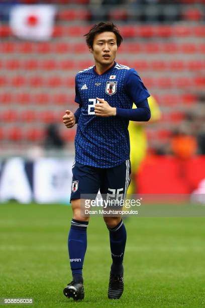 Kento Misao of Japan in action during the International friendly match between Japan and Ukraine held at Stade Maurice Dufrasne on March 27, 2018 in...