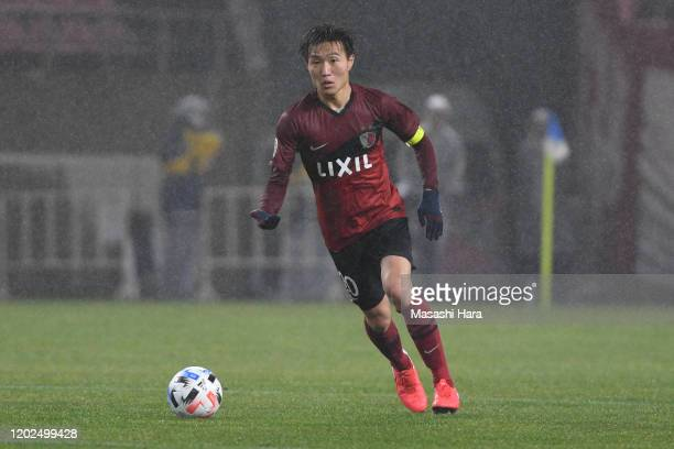 Kento Misao of Kashima Antlers in action during the AFC Champions League play-off between Kashima Antlers and Melbourne Victory at Kashima Soccer...