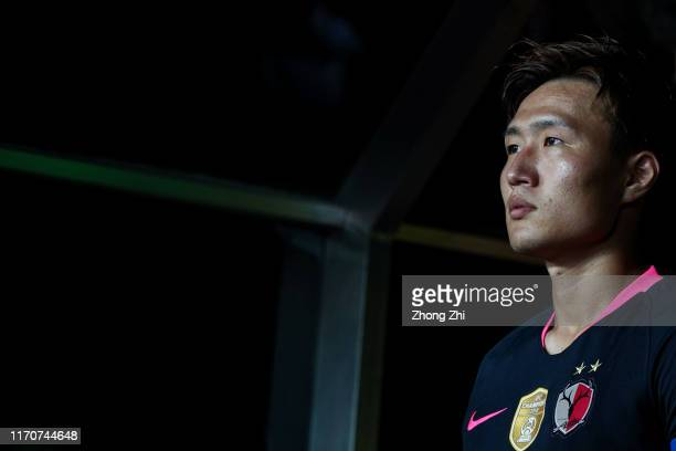 Kento Misao of Kashima Antlers looks on during the AFC Champions League match between Guangzhou Evergrande and Kashima Antlers at Tianhe Stadium on...