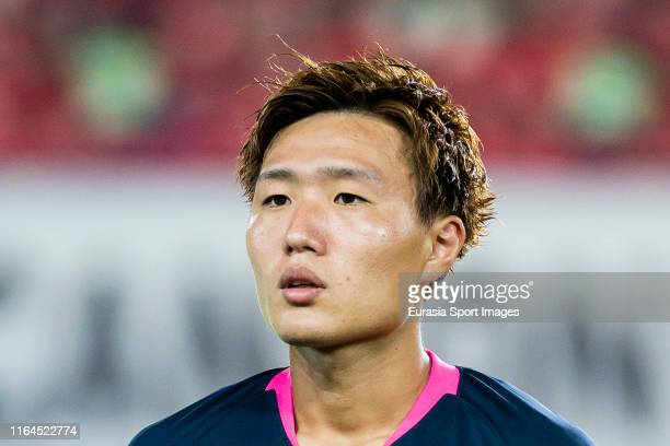 Kento Misao of Kashima Antlers looks on prior to the AFC Champions League quarter final match between Guangzhou Evergrande and Kashima Antlers at...