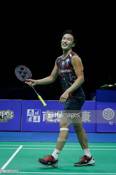 Kento Momota of Japan Celebrate wins the game after singles semi final match against Lee Chong Wei of Malaysia at the 2018 Badminton Asia...