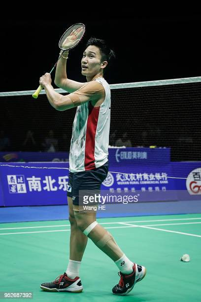Kento Momota of Japan Celebrate wins the game during man's singles final match against Chen long of China at the 2018 Badminton Asia Championships on...