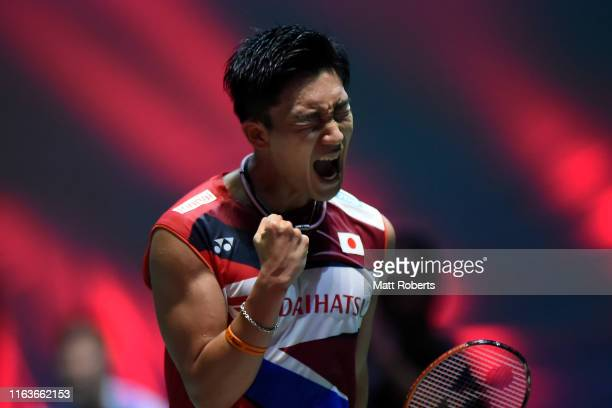 Kento Momota of Japan celebrates against Hanskristian Solberg Vittinghus of Denmark during day one of the Daihatsu Yonex Japan Open Badminton...