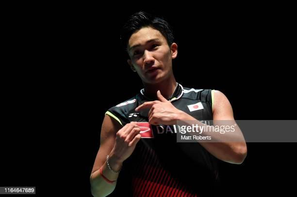 Kento Momota of Japan celebrates in the Men's Singles Final after defeating Jonatan Christie of Indonesia on day six of the Daihatsu Yonex Japan Open...