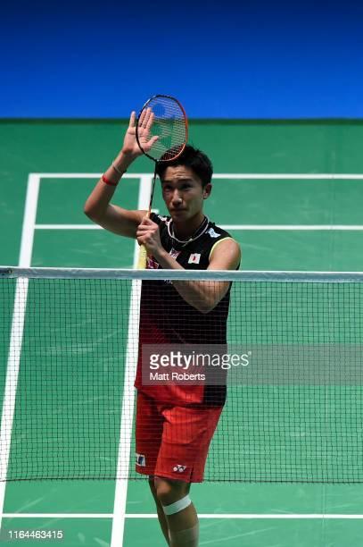 Kento Momota of Japan celebrates in the Men's Singles semifinal match after defeating Sai Praneeth B of India on day five of the Daihatsu Yonex Japan...