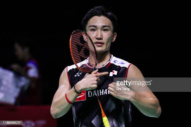 Kento Momota of Japan celebrates the victory after the Men's Single final match against Chou Tien Chen of Chinese Taipei on day six of the Fuzhou...