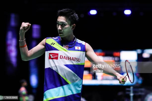 Kento Momota of Japan celebrates the victory after the Men's Singles second round match against Kantaphon Wangcharoen of Thailand on day two of the...