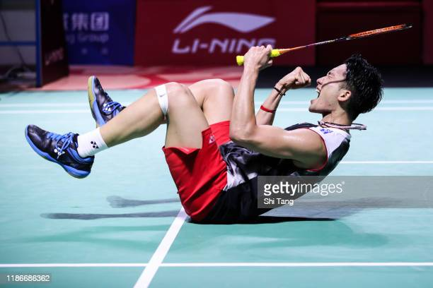 Kento Momota of Japan celebrates the victory in the Men's Single final match against Chou Tien Chen of Chinese Taipei on day six of the Fuzhou China...