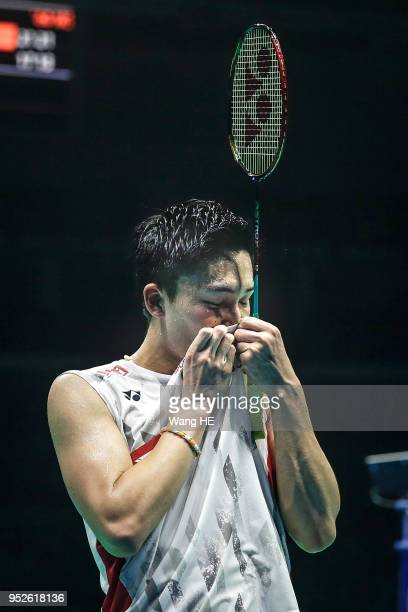 Kento Momota of Japan celebrates winning the men's singles final against Chen long of China at the 2018 Badminton Asia Championships on Apirl 29 2018...