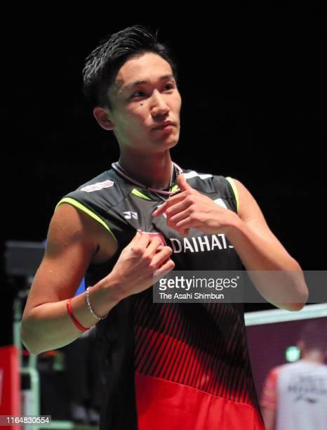 Kento Momota of Japan celebrates winning the Men's Singles Final against Jonatan Christie of Indonesia on day six of the Daihatsu Yonex Japan Open...