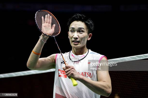 Kento Momota of Japan celebration win the games after the men's singles Semifinal match against Tien Minh Nguyen of Vietnam at the 2019 Badminton...