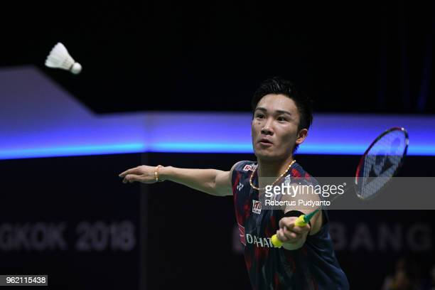 Kento Momota of Japan competes against Brice Leverdez of France during the Quarterfinals match on day five of the BWF Thomas Uber Cup at Impact Arena...