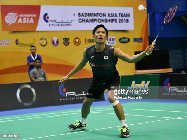 Kento Momota of Japan competes against Khaitmurat Kulmatov of Kazakhstan during the EPlus Badminton Asia Team Championships 2018 at Sultan Abdul...