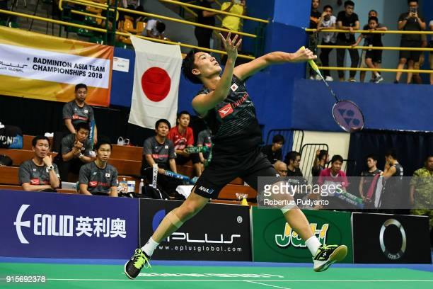 Kento Momota of Japan competes against Kwang Hee Heo of Korea during the EPlus Badminton Asia Team Championships 2018 at Sultan Abdul Halim Stadium...