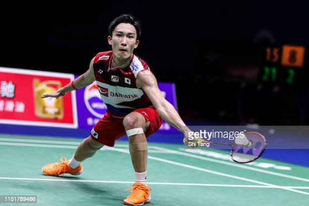 Kento Momota of Japan competes in the Men's Single final match against Shi Yuqi of China during day eight of the Sudirman Cup at Guangxi Sports...