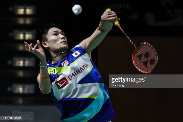Kento Momota of Japan competes in the Men's Singles first round match against Wang Tzu Wei of Chnese Taipei on day two of the Yonex German Open on...