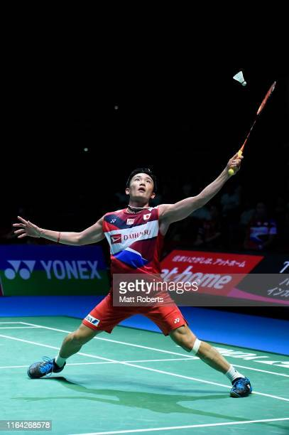 Kento Momota of Japan competes in the Men's Singles Quarterfinal match against Anthony Sinisuka Ginting of Indonesia on day four of the Daihatsu...