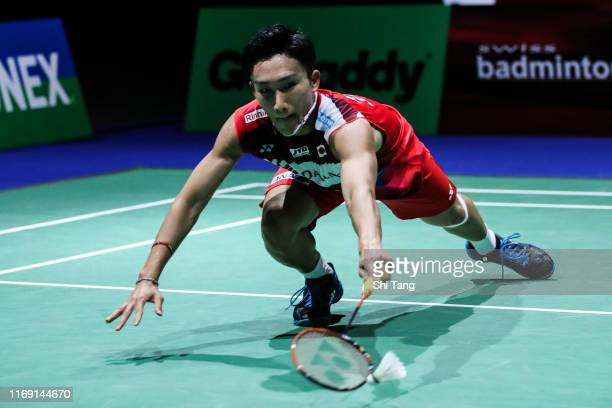 Kento Momota of Japan competes in the Men's Singles second round match against Luis Enrique Penalver of Spain during day two of the Total BWF World...