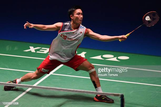 Kento Momota of Japan competes in the Men's singles semi final match against Viktor Axelsen of Denmark on day five of the Yonex Japan Open at...