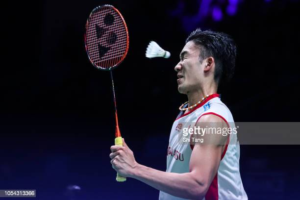 Kento Momota of Japan competes in the Men's Singles semi finals match against Chen Long of China on day five of the French Open at Stade Pierre de...