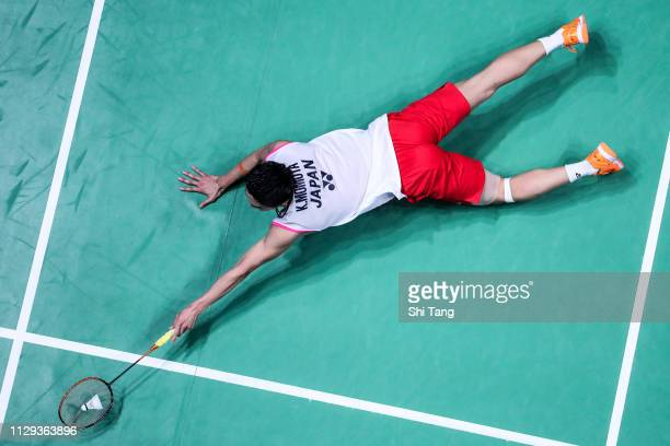 Kento Momota of Japan competes in the Men's Singles semi finals match against Ng Ka Long Angus of Hong Kong on day four of the Yonex All England Open...