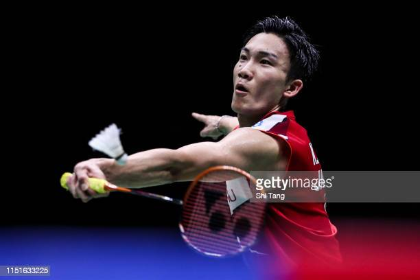 Kento Momota of Japan competes in the Men's Singles semi finals match against Anthony Sinisuka Ginting of Indonesia during day seven of the Sudirman...