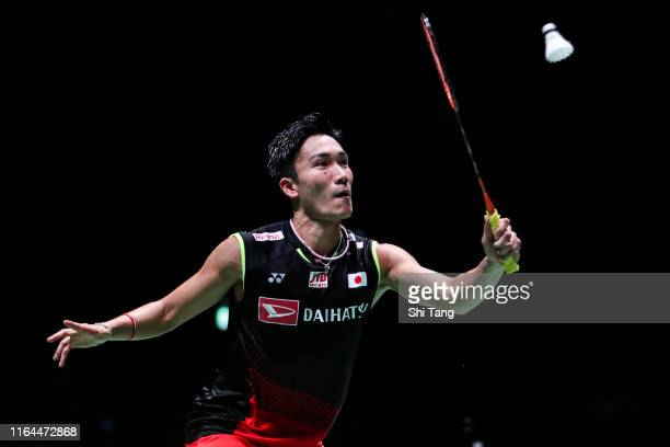 Kento Momota of Japan competes in the Men's Singles semi finals match against Sai Praneeth B of India during day five of the Daihatsu Yonex Japan...