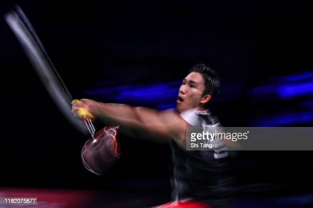 Kento Momota of Japan competes in the Men's Singles semi finals match against Tommy Sugiarto of Indonesia on day five of the Denmark Open at Odense...