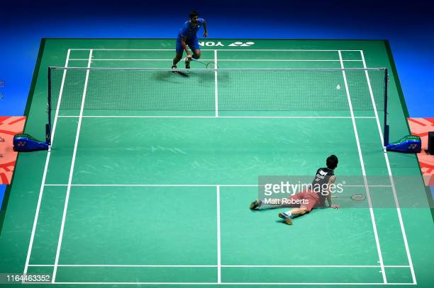 Kento Momota of Japan competes in the Men's Singles semifinal match against Sai Praneeth B of India on day five of the Daihatsu Yonex Japan Open...