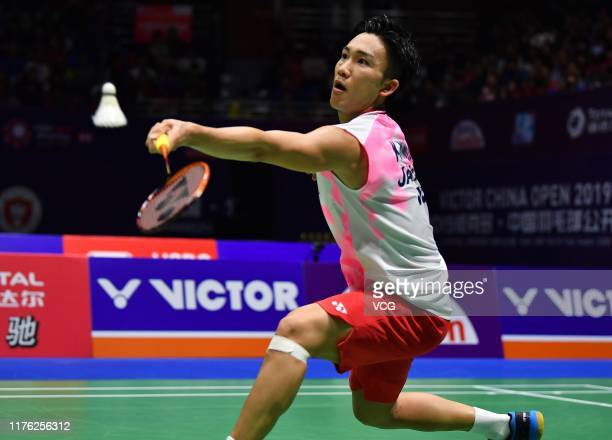 Kento Momota of Japan competes in the Men's Singles semi-final match against Chen Long of China on day five of 2019 China Badminton Open at Olympic...