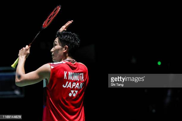 Kento Momota of Japan greets the audience after the Men's Singles second round match against Luis Enrique Penalver of Spain during day two of the...