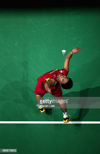 Kento Momota of Japan in action against Tommy Sugiarto of Indonesia during the Men's Singles Group B match on day three of the BWF Destination Dubai...