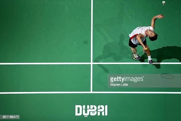 Kento Momota of Japan in action against Viktor Axelsen of Denmark during the final of the Men's Singles match on day five of the BWF Dubai World...