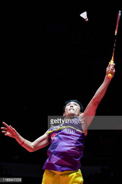 Kento Momota of Japan in action during the match against Wang Tzu Wei of Chinese Taipei on day 1 of the HSBC BWF World Tour Finals 2019 at Tianhe...