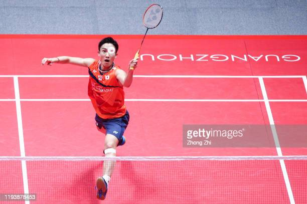 Kento Momota of Japan in action during the Men's singles semi final match against Wang Tzu Wei of Chinese Taipei on day 4 of the HSBC BWF World Tour...