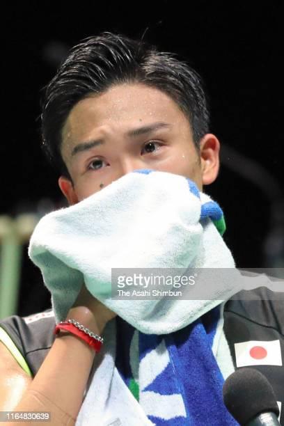 Kento Momota of Japan is interviewed after winning the Men's Singles Final against Jonatan Christie of Indonesia on day six of the Daihatsu Yonex...