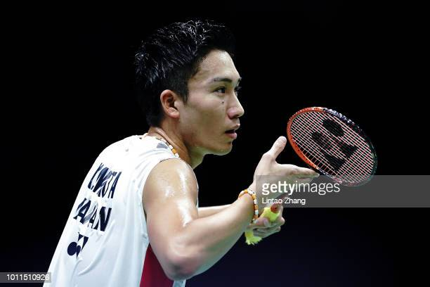Kento Momota of Japan looks on against Shi Yuqi of China in the men's singles final on day 7 of Total BWF World Championships at Nanjing Youth...