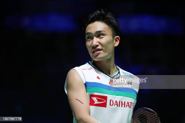 Kento Momota of Japan looks on during day one of YONEX All England Open Badminton Championships at Utilita Arena Birmingham on March 17, 2021 in...