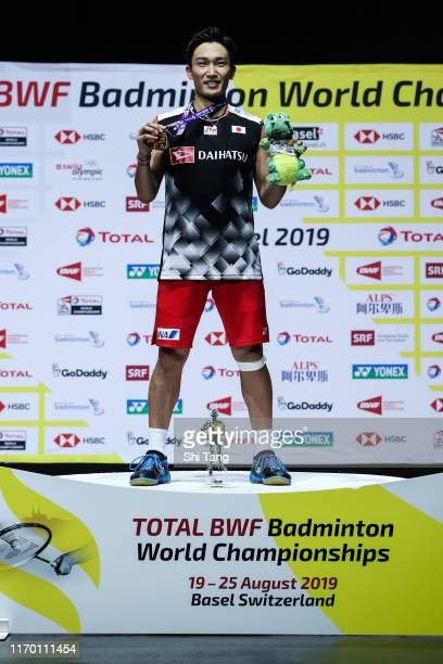 Kento Momota of Japan poses with his medal after the Men's Single final match against Anders Antonsen of Denmark during day seven of the Total BWF...