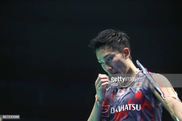 Kento Momota of Japan reacts against Lee Chong Wei of Malaysia during men's singles semifinal match on day five of 2018 Badminton Asia Championships...