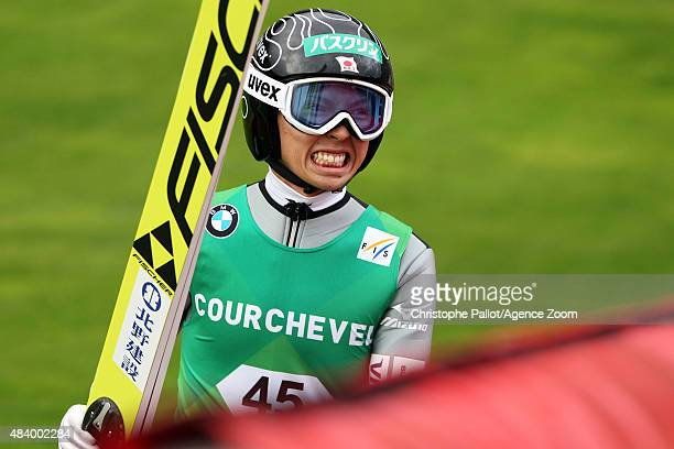 Kento Sakuyama of Japan takes 2nd place during the FIS Ski Jumping Grand Prix Men's HS132 and Women's HS96 in Courchevel France