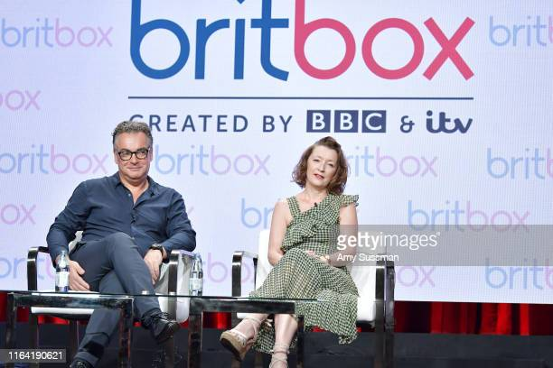 Kenton Allen and Lesley Manville of Mum speak during the BritBox segment of the Summer 2019 Television Critics Association Press Tour 2019 at at The...